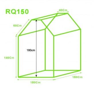 Roof Qube grow tent 150 dimensions