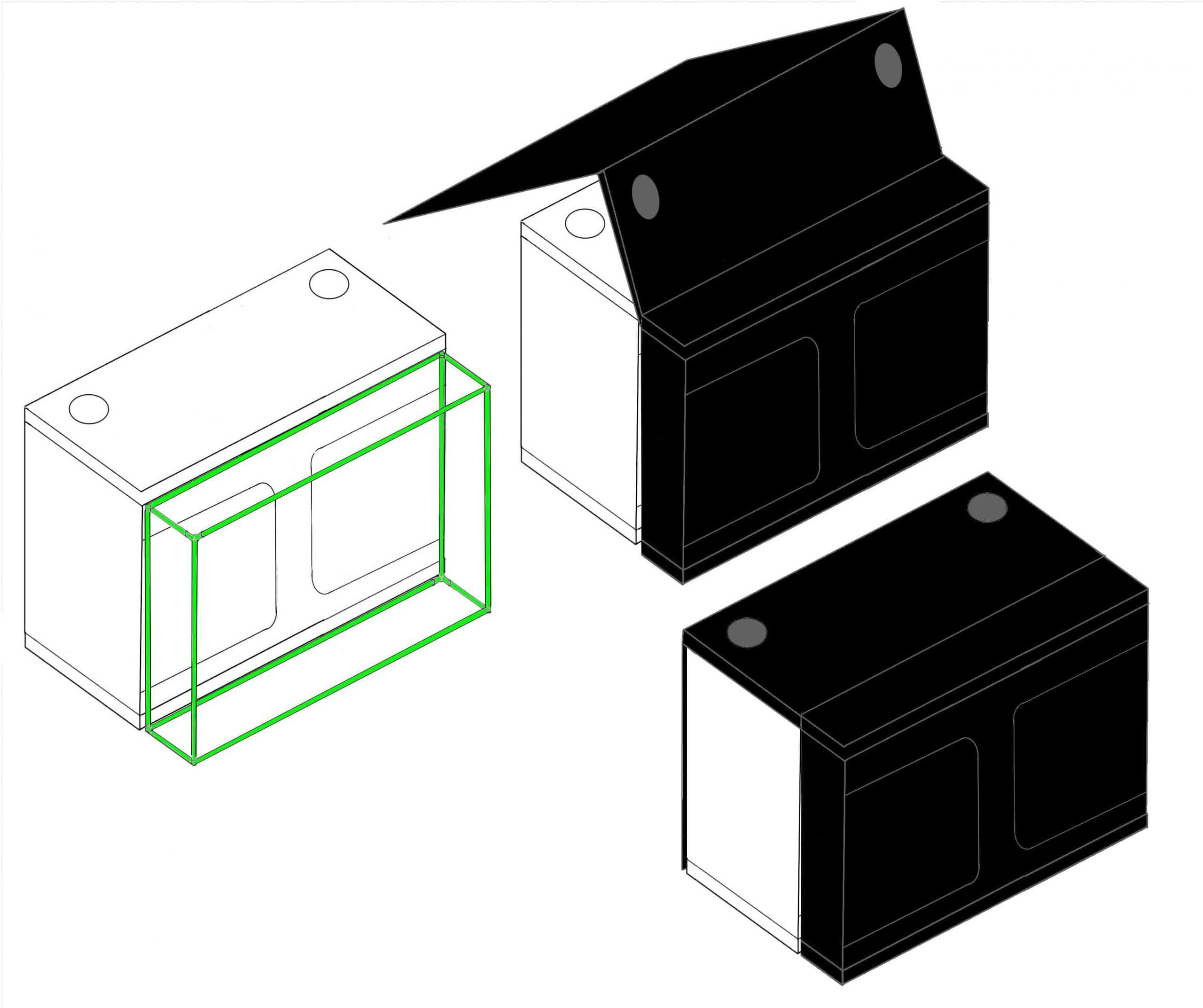 Grow tent x-qube grow room - diagram