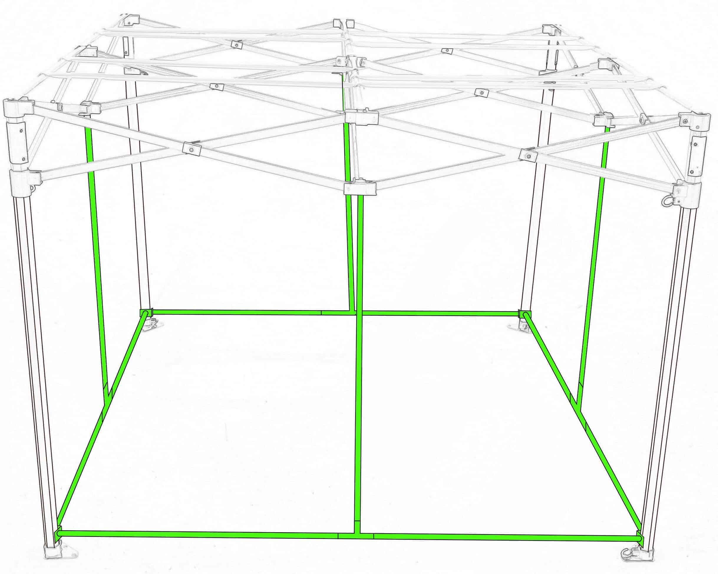 Quick qube by green qube expansion bars for grow tent - floor